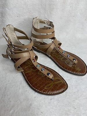 46a932e859eab Sam Edelman Genevieve Gladiator Sandals Flats Zip Back Leather Size 9.5 NEW