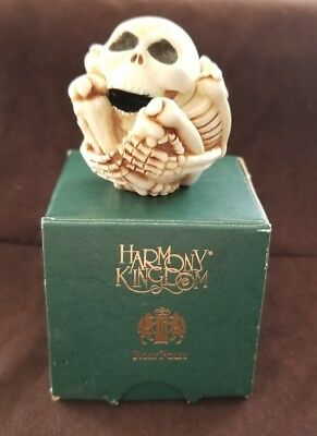 "Harmony Kingdom ""Bones"" Roly Poly Skeleton Figurine Halloween w/ Original Box"