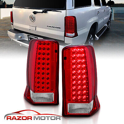 2002 2003 2004 2005 2006 Red Clear LED Brake Tail Lights For Cadillac Escalade