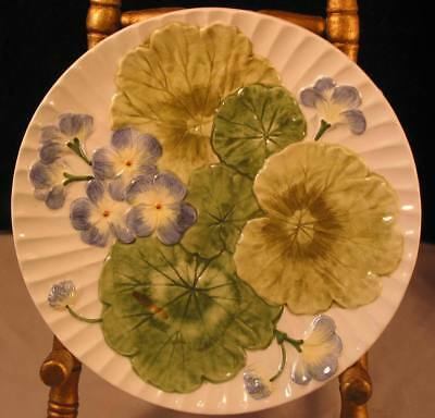 "Beautiful Geranium Leaves with Blue Flowers Vietri Hand Made 8 1/4""  Plate Italy"