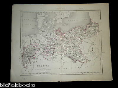 Original Antiquarian Map c1850 of Prussia (Northern Europe) Germany, Saxony