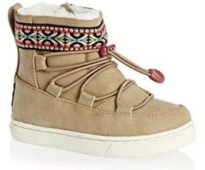 98a7ae18fda NWT Tiny Toms Alpine Baby Toddler Suede Tribal Webbing Toffee Snow Boots Sz  7
