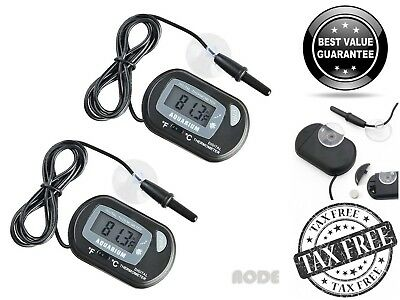 2 Pack Digital LCD Aquarium Thermometer Fish Tank Water Temperature Terrarium