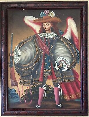 Antique Icon Late 18th Century Cusco Archangel Warrior Acabucero Oil On Canvas