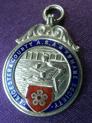 Silver & Enamel Leicester Swimming / Water Polo Medal or Fob  - 1936 Chester