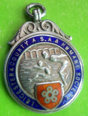 Silver & Enamel Leicester Swimming / Water Polo Medal or Fob  - 1933 Chester