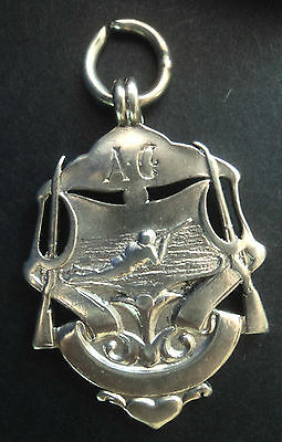 Unusual EARLY Sterling Silver Rifle Shooting Medal / Fob  - h/m 1907 Birmingham