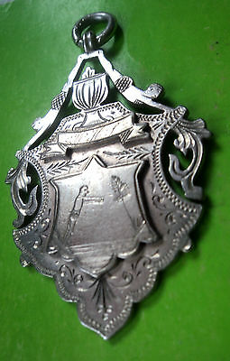 VERY LARGE Sterling Silver Swimming Medal / Watch Fob  - h/m 1927 Birmingham