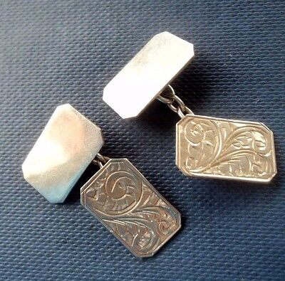 Vintage Gents Attractive Silver Patterned Cufflinks c.1930/50s - not engraved
