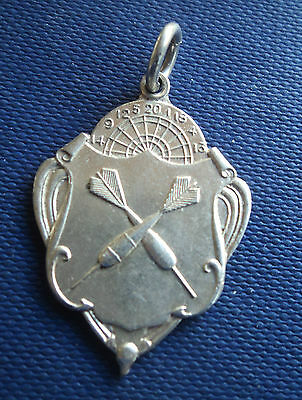 Vintage Sterling Silver Darts Fob Medal 1946 Fattorini & Sons  -  not engraved