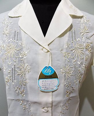 *NEW Old Stock Vintage 1970s Size S Lily Embroidered White Blouse- 46cm Bust