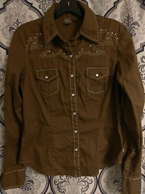 91f3b09d WOMENS CRUEL GIRL Size L Western Blouse Pearl Snap Button Up Black ...