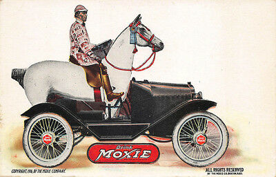 """Drink Moxie"" Horse Shaped Automobile Advertising Postcard"