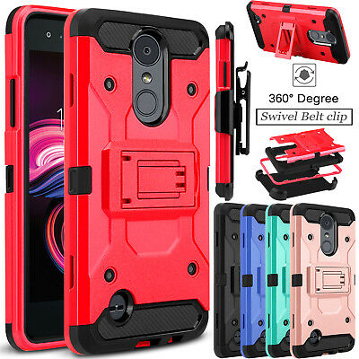 For LG Aristo 3/Tribute Empire Case Shockproof Hybrid Clip Stand TPU Armor Cover