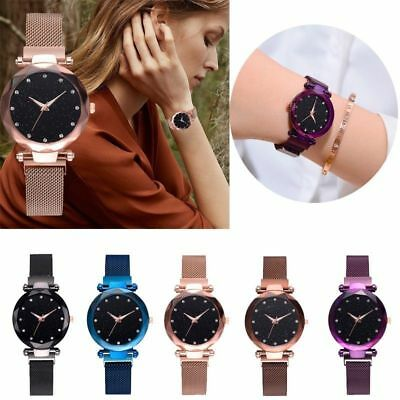 Women Starry Sky Diamond Watch Ladies Dial Bracelet Watches Magnetic Stainless
