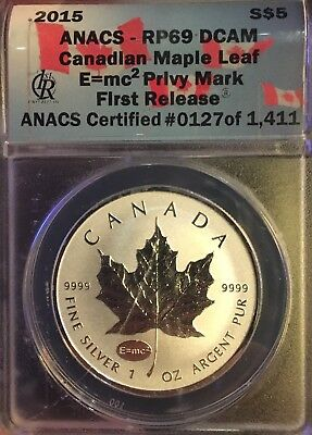 2015 ANACS RP69 DCAM 1oz Silver Canadian Maple Leaf
