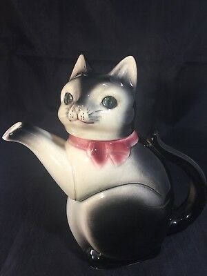 Erphila Cat Teapot 6700B US Zone Germany 1940s Era Good Vintage Cond Lid Is Head