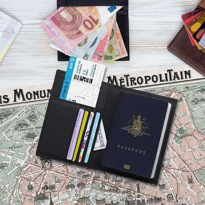 RFID Leather Travel ID Card Organizer Passport Holder Case Cover Protector Tool