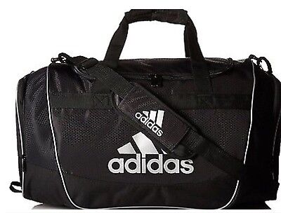311ea3b4a2 New Adidas Defender II Duffel Bag Sport Small Travel Run Gym Bag Black White