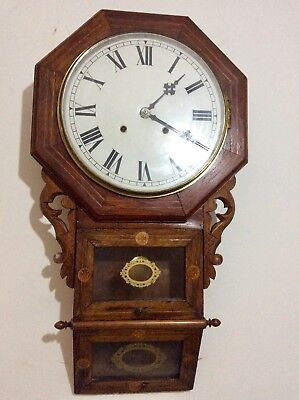 Ingram USA Carved and inlaid Drop Dial Chiming Wall Clock