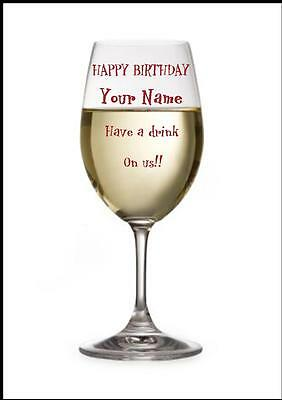 Novelty Personalised Happy Birthday Greeting Card White Wine Glass