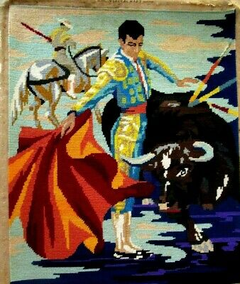 Craft Hand Made Picture Tapestry Matador & Bull Completed & Framed