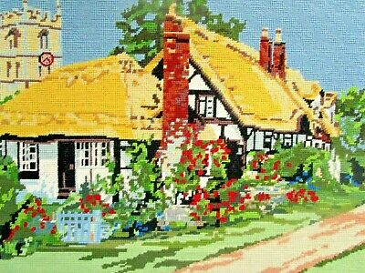 Craft Hand Made Tapestry Thatched Cottage England Completed & Framed