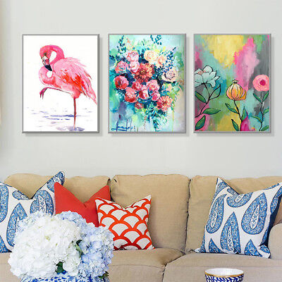 KF_ Watercolor Flamingo Flower Canvas Wall Painting Poster Picture Home Decor