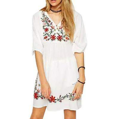 HOT Women Mexican Ethnic Embroidered Pessant Hippie Blouse Gypsy Boho Mini Dress