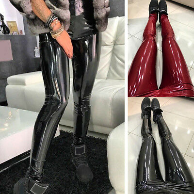 KF_ Women Faux Leather Skinny Glossy Pants High Waisted Long Leggings Trousers