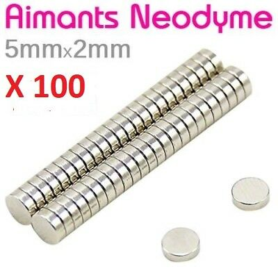 Lot 100 Minis Aimant Neodyme Neodymium Magnets Disque Rond Fort Puissant 5mmX2mm