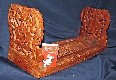 Wood Hand Carved Extendable Book Slide / Bookends India Label Desk Library 33CmW
