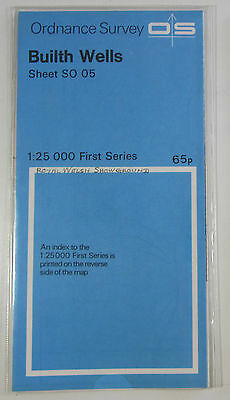 1966 old vintage OS Ordnance Survey 1:25000 First Series Map SO 05 Builth Wells