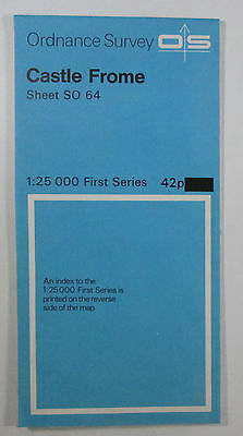 1966 old vintage OS Ordnance Survey 1:25000 First Series Map SO 64 Castle Frome