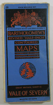1947 old vintage Bartholomew's Half-inch revised contoured map 18 Vale of Severn