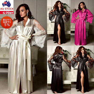 Women Satin Silk Lace Sleep Dress Lingerie Nightwear Pajamas Sleepwear Gown Robe