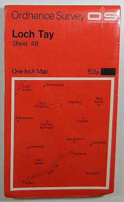 1963 old vintage OS Ordnance Survey Seventh Series one-inch Map 48 Loch Tay
