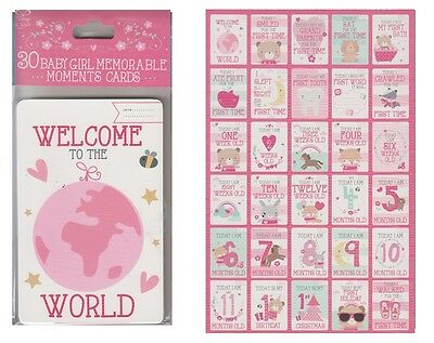 Pack Of 30 Babies 1st Year Memorable Moments Milestone Cards Baby Shower - Girl