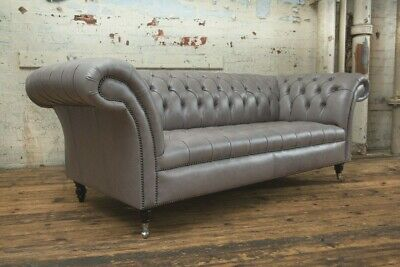 Handmade 3 Seater Vintage Grey Leather Chesterfield Sofa, Settee