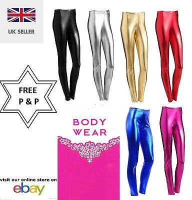 Womens Wet Look Metallic Leggings Ladies Foil Shiny Plus Size Girls