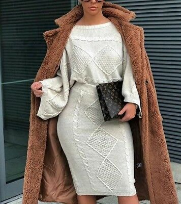 Womens Ladies Cable Knit Chunky Flared Jumper Skirt Co-Ord Suit Two Piece Set