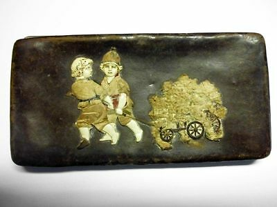 Antikes Lederetui mit Kindermotiv-zum Restaurieren-lovely antique leather case