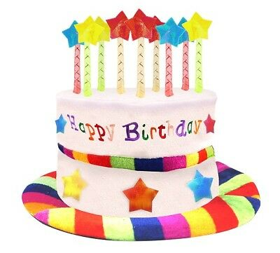 Happy Birthday Hat Cake Hat with Mock Candles Hat Multi Coloured New