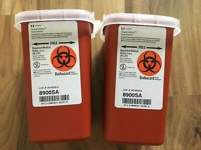 2 Sharps Container Biohazard Needle Disposal 1 Qt Size