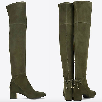 984648271148d3 NIB  598 Tory Burch Laila Suede Over The Knee Boots Boxwood Sz 6