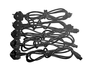 Job Lot of 5 x Clover Leaf C5 Power Lead Cable UK 3 pin Plug for Laptop Adapter