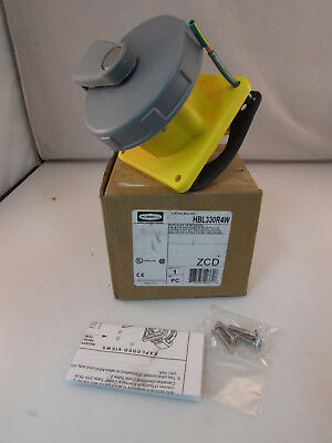 HUBBELL WIRING DEVICE-KELLEMS IEC Pin and Sleeve Receptacle,30A,125V, HBL330R4W