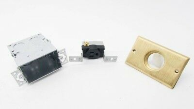 Cooper TR5797 New 15A 125V Brass Floor Box Assembly with Single Receptacle NIB