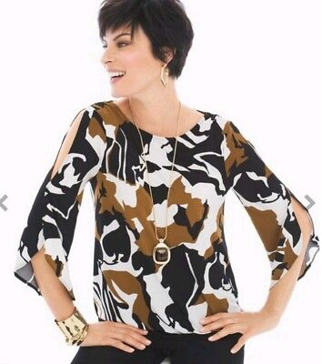 33a61472b5654 Chicos Cold Shoulder Top  69 MSRP Blouse Shirt Sz 3 XL Abstract Print Brown  New