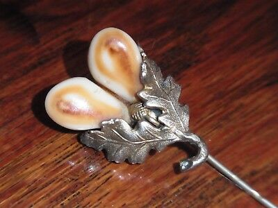 Antique German Art Deco 800 Silver tie pin Oak Leaves Acorn Roe Deer Teeth
